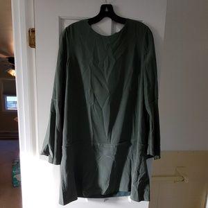 Tibi muted green drop waist dress, size 10